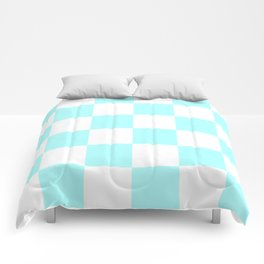 Large Checkered - White and Celeste Cyan Comforters