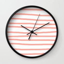 Simply Drawn Stripes Salmon Pink on White Wall Clock