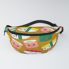 pattern Kawaii funny sushi set with pink cheeks and big eyes, emoji on brown mustard background Fanny Pack