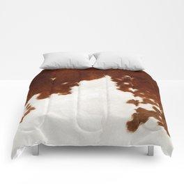 brown cowhide watercolor Comforters