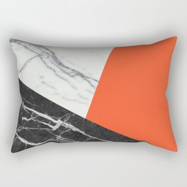 Black and White Marble with Pantone Flame Color Rectangular Pillow