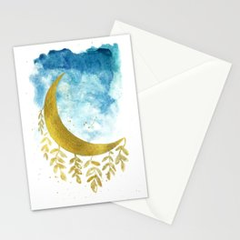 moon watercolor Stationery Cards