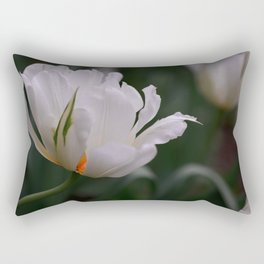 Expressive White Tulip Rectangular Pillow