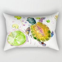 Swimming little cute turtle children nursery art Rectangular Pillow