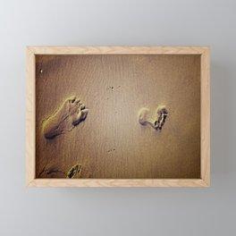 Feet on Sand-Brown Framed Mini Art Print