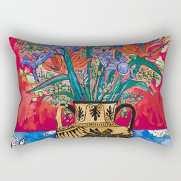 Icarus Floral Still Life Painting with Greek Urn, Irises and Bird of Paradise Flowers Rectangular Pillow