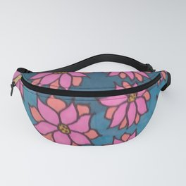 Pink and Blue Dahlia Print Fanny Pack