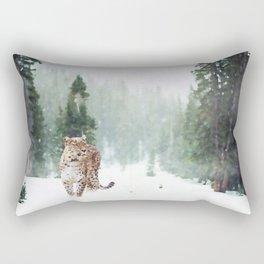 Leopard Running on Snow Rectangular Pillow