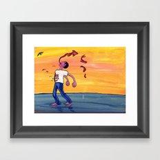 We never joy. Framed Art Print