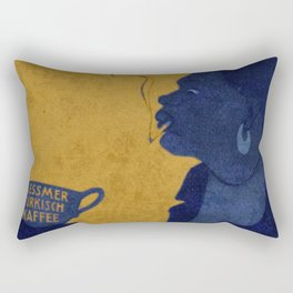 Vintage Blue and Yellow Turkish Coffee Woman with Cigarette Rectangular Pillow
