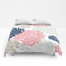 Floral Pattern Chrysanthemum, Blush Pink, Navy Blue Comforters