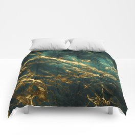 Glamorous Green Faux Marble Pattern With Gold Veins Comforters