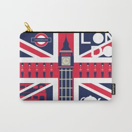 Vintage Union Jack UK Flag with London Decoration Carry-All Pouch
