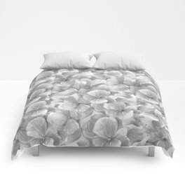 Elegant gray white hand painted watercolor floral Comforters