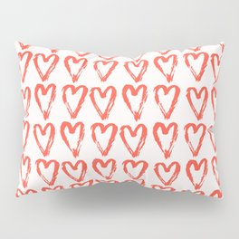 Heart Pattern Living Coral - hand painted Pillow Sham