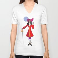 hook V-neck T-shirts featuring Captain Hook by AmadeuxArt
