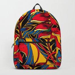 Jungle Glam Falling Leaves Blue Gold Backpack