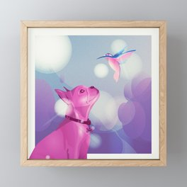 Conversation between bulldog and kingfisher Framed Mini Art Print