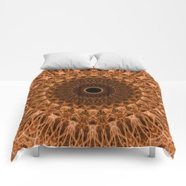 Brown and golden mandala Comforters
