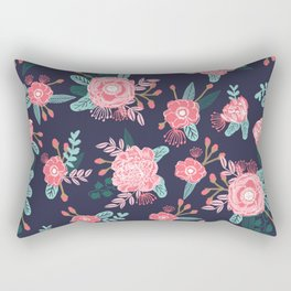 Peony floral bouquet navy pink bright happy flowers dorm college office decor must have pattern Rectangular Pillow