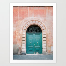 Turquoise Green door in Trastevere, Rome. Travel print Italy - film photography wall art colourful. Art Print