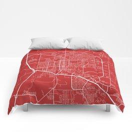 Denton Map, USA - Red Comforters