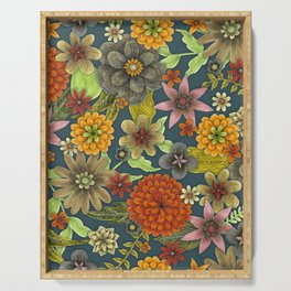autumn floral tapestry Serving Tray