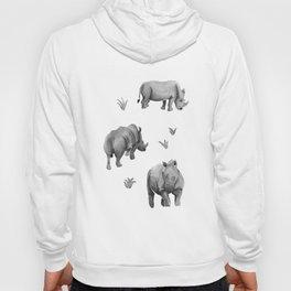 Rhino's Grazing - Black & White Hoody