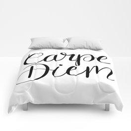 Carpe Diem Hand Lettering Comforters