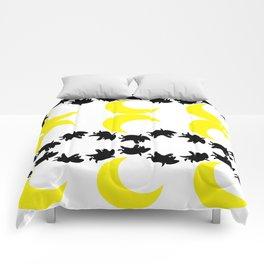half moon with flying pigs Comforters