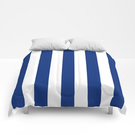 Catalina blue - solid color - white vertical lines pattern Comforters