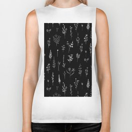 Black wildflowers Biker Tank