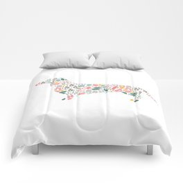 Dachshund Floral Watercolor Art Comforters