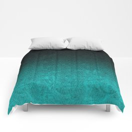 Aqua & Black Glitter Gradient Comforters
