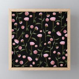 Peonies on Black Framed Mini Art Print