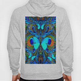 ELECTRIC NEON BLUE BUTTERFLIES & BLUE PEACOCK FEATHERS Hoody