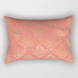Coral Gold Damask Pattern Rectangular Pillow
