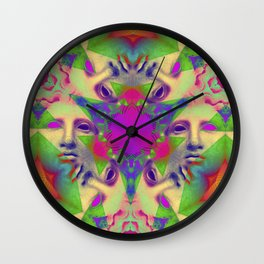 Greek Triangular Yantra 2 Wall Clock