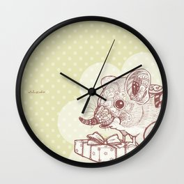 Present for You - Elephant Shrew[Pale green] Wall Clock