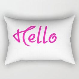 Hello Pink And White Rectangular Pillow