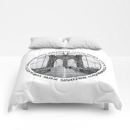 Brooklyn Bridge New York City (black & white with text) Comforters