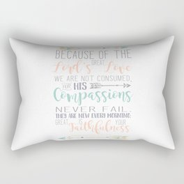 Handwritten Pastels Lamentations 3:22-23 Bible Verse Rectangular Pillow
