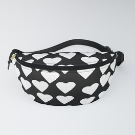 Hearts on Heart White on Black Fanny Pack
