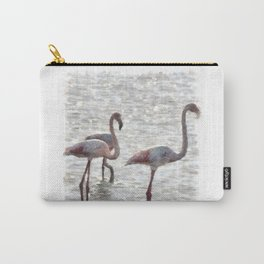 Three Flamingos Watercolor Carry-All Pouch