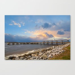 Pier and Seawall in Late Afternoon Canvas Print