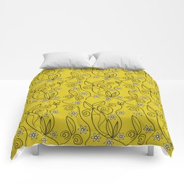 Floral Abstract Design Yellow Meadow Comforters