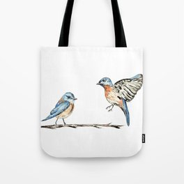 Bluebirds watercolour and ink Tote Bag