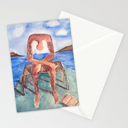 spin-off art: melancholie sculpture with a dropped open book and sea view Stationery Cards