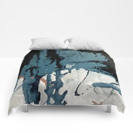 Fortune: A bold, minimal, abstract mixed-media piece in blue and black Comforters