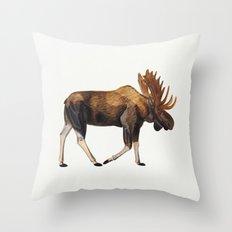 Watercolour Moose Drawing Throw Pillow